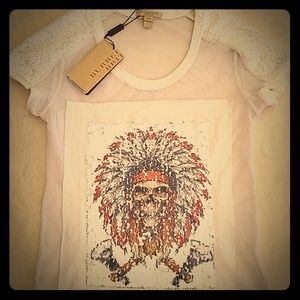 Burberry Brit Indian skull sequined & mesh tshirt